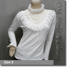 Classy Mock Neck Lace Trimmed Ruffled Applique Beaded Blouse Top Off White
