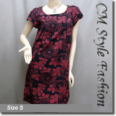 Classy Peony Flower Print Pocket Frock Tunic Dress Red Black Blue