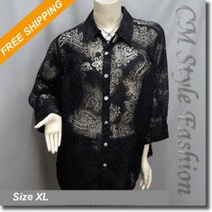 Classy Sheer Embossed Pattern Blouse Shirt Top Black