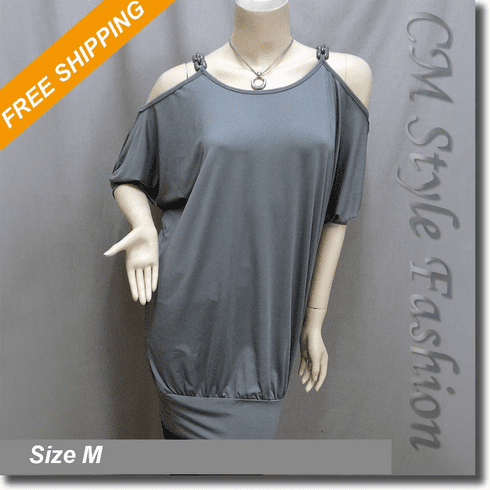 Cold Shoulder Chain Strap Batwing Tunic Frock Top Gray