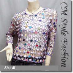 Colorful Spider Web Beaded Crochet Knitted Net Blouse Top Purple