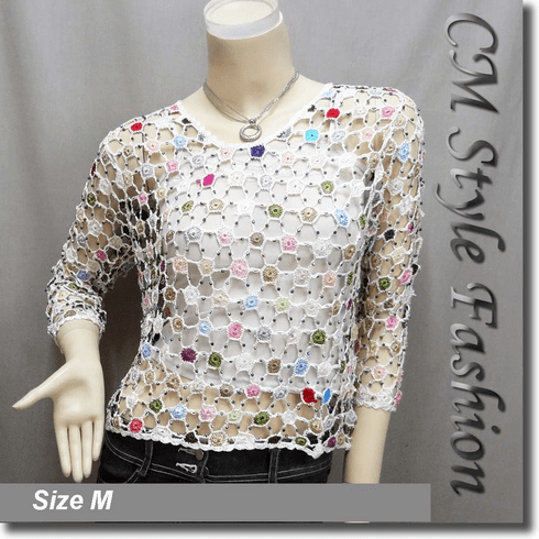 Colorful Spider Web Beaded Crochet Knitted Net Blouse Top White