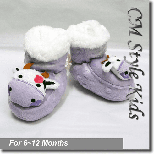 Cow Bootie Socks / Slippers for Baby Pre-walkers Purple