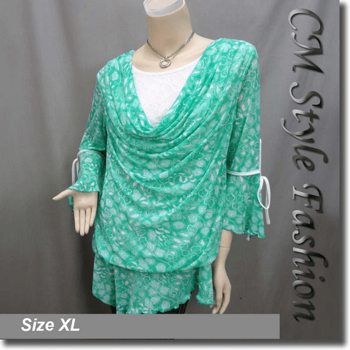 Cowl Neck Lace Floral Print Flutter Sleeve Boho Top Green