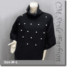 Cowl Neck Ribbed Beaded Poncho Top Black