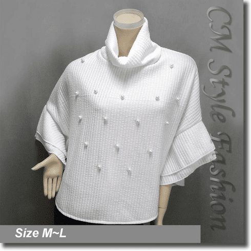 Cowl Neck Ribbed Beaded Poncho Top Off White