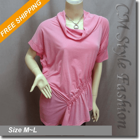 Cowl Neck Ruched Asymmetric Tunic Top Pink