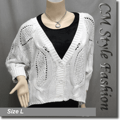 Crochet Cable Knit Batwing Sleeve Cardigan Off White