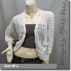 Crochet Cocoon Shrug Cardigan Top Off White