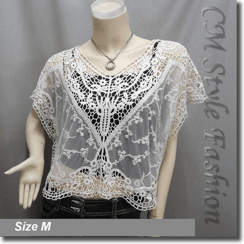 Crochet Embroidery Floral Lace Knit Blouse Top Cream