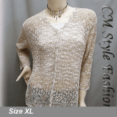 Crochet Eyelet Button Down Knit Cardigan Brown White
