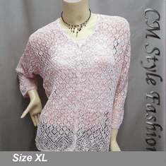 Crochet Eyelet Button Down Knit Cardigan Pink White