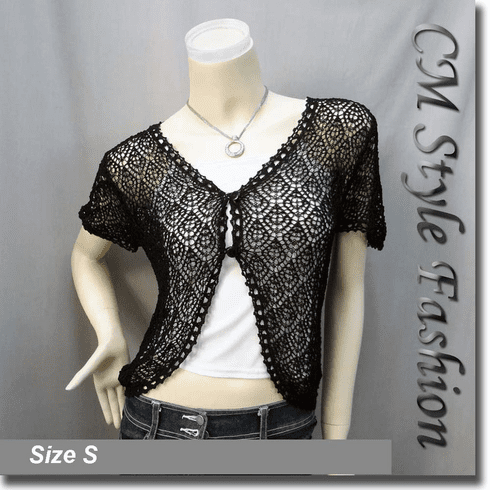 Crochet Eyelet Knit Bolero Topper Black