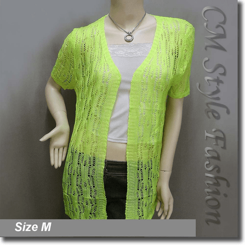 Crochet Eyelet Knit Long Cardigan Sweater Lime Green