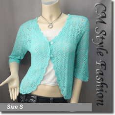 Crochet Eyelet Knit Shrug Cardigan Aqua
