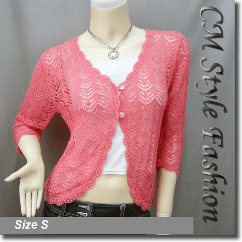 Crochet Eyelet Knit Shrug Cardigan Pink