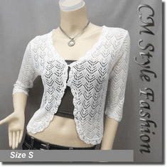 Crochet Eyelet Knit Shrug Cardigan White
