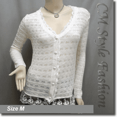Crochet Eyelet Lace Trimmed Button Down Knit Cardigan Blouse Top Beige