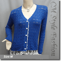 Crochet Eyelet Lace Trimmed Button Down Knit Cardigan Blouse Top Blue