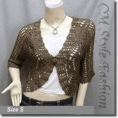 Crochet Eyelet Scallop Bolero Cardi Top Brown