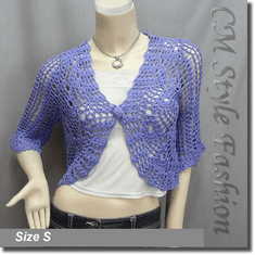 Crochet Eyelet Scallop Bolero Cardi Top Purple