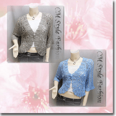 Crochet Eyelet Scallop Bolero Cardi Top Series