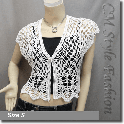 Crochet Eyelet Shrug Bolero Cardigan Topper White