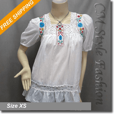 Crochet Floral Embroidery Ruffle Peasant Blouse Top White