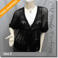 Crochet Knit Empire Waist Bolero Crop Cardigan Shrug Top Black