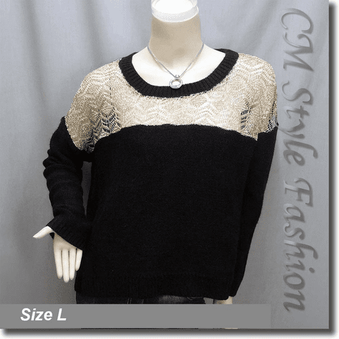 Crochet Knit Eyelet Drop Shoulder Sweater Top Golden Black