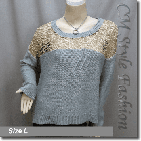 Crochet Knit Eyelet Drop Shoulder Sweater Top Golden Gray