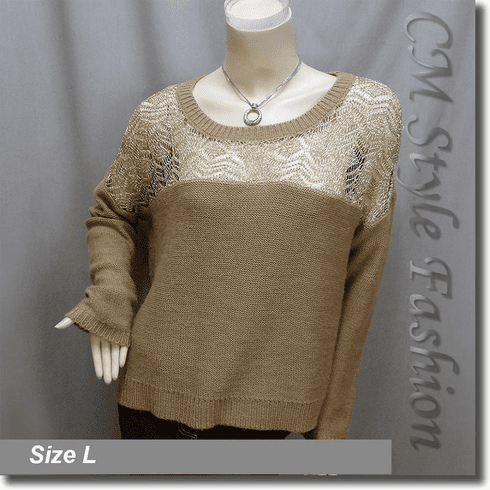 Crochet Knit Eyelet Drop Shoulder Sweater Top Golden Khaki Brown