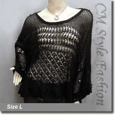 Crochet Knit Eyelet Sequined Beaded Boxy Sweater Top Black