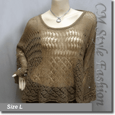 Crochet Knit Eyelet Sequined Beaded Boxy Sweater Top Brown