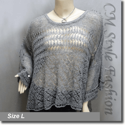 Crochet Knit Eyelet Sequined Beaded Boxy Sweater Top Gray