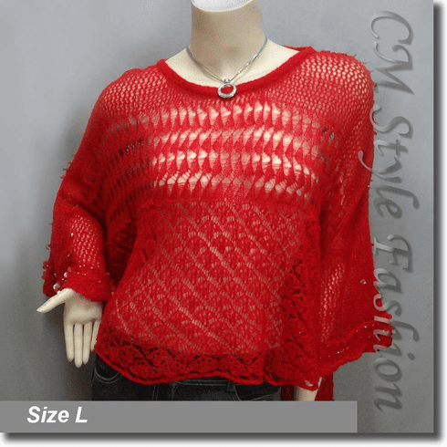Crochet Knit Eyelet Sequined Beaded Boxy Sweater Top Red
