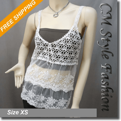 Crochet Knit Lace Eyelet Camisole Layering Top Cream Beige