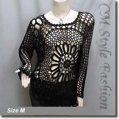Crochet Knit See Through Pullover Sweater Top Black
