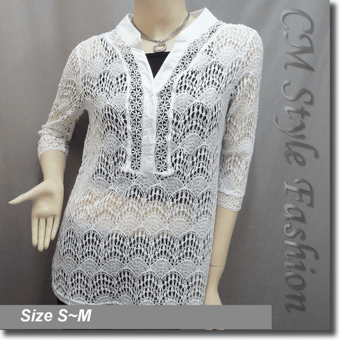Crochet Lace Kaftan Shirt Layering Tunic Top Off White
