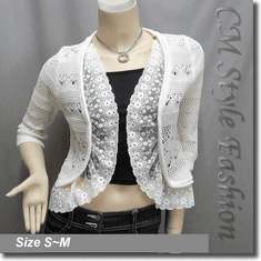 Crochet Lace Ruffle Eyelet Scallop Cardigan Shrug Top Cream