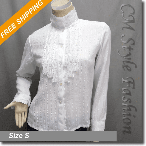 Crochet Lace Trimmed Lolita Blouse Shirt Top White