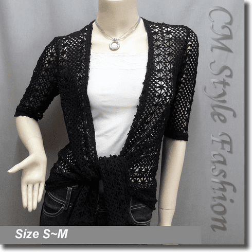 Crochet Quartered Sleeves Flowy Cardigan Shrug Top