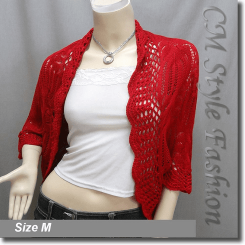 Crochet Scallop Eyelet Knit Shrug Cardigan Sweater Top Red