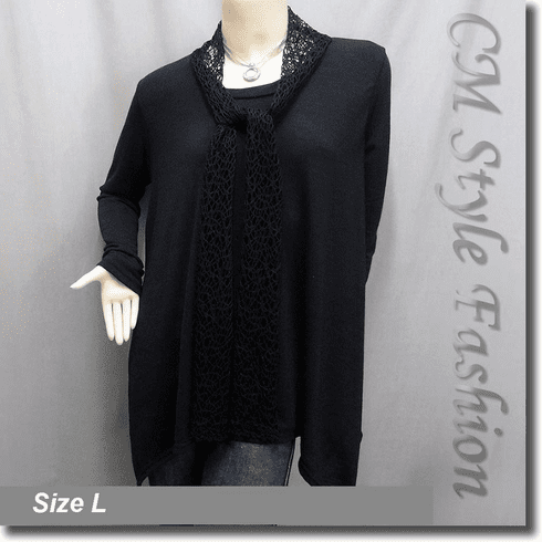 Crochet Scarf Neckline Flared Out Tunic Top Black