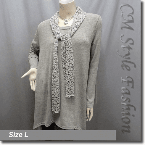 Crochet Scarf Neckline Flared Out Tunic Top Khaki