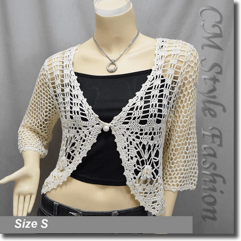 Crochet Silvery Thread Beaded Bolero Top Beige