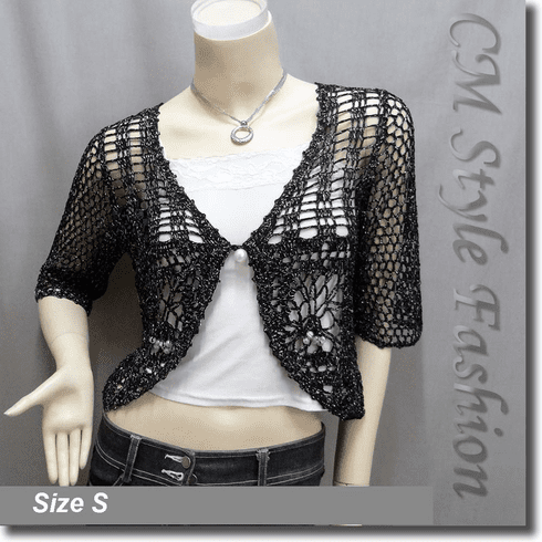 Crochet Silvery Thread Beaded Bolero Top Black