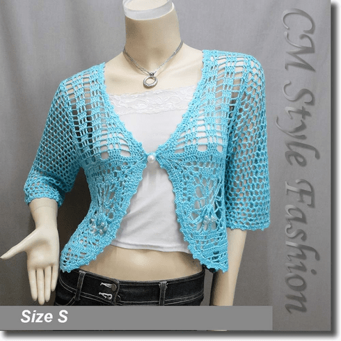 Crochet Silvery Thread Beaded Bolero Top Blue