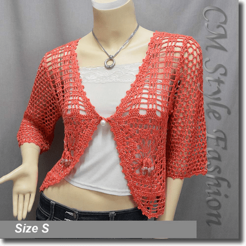 Crochet Silvery Thread Beaded Bolero Top Orange