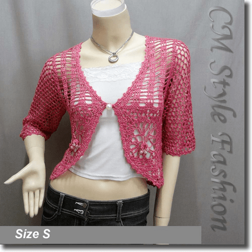 Crochet Silvery Thread Beaded  Bolero Top Pink